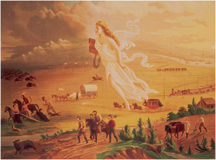 American Progress (1872), painting by John Gast, depicting Columbia (who represents America) guiding settlers as they embrace the dream and the destiny of westward expansion.