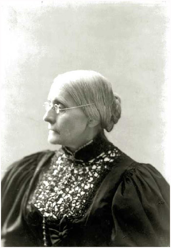 Susan B. Anthony (1820–1906), social reformer and a leader of the woman suffrage movement.
