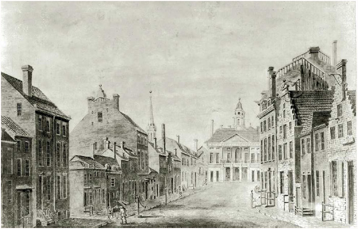 Watercolor of Broad Street, Wall Street, and City Hall, later known as Federal Hall, New York City, by John Joseph Holland, 1797. New York served as the seat of the Confederation Congress (1785–1788) and the First Federal Congress (1789–1790).