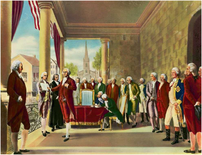 An illustration of George Washington taking the oath of office as first president of the United States at Federal Hall, New York City, on April 30, 1789.