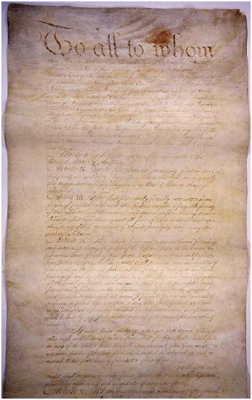 The first page of the Articles of Confederation (1781), which was the first constitution of the United States. The Articles established a fairly weak federal government, leaving most essential powers in the states. After efforts to strengthen the Articles failed, nationalists drafted and ratified the Constitution of the United States.