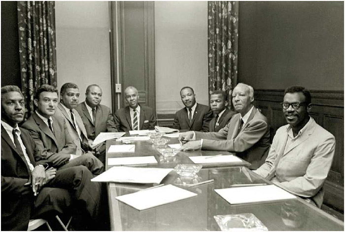 A meeting of prominent civil rights leaders, including Martin Luther King Jr. (back right), at the NAACP offices in New York, 1964
