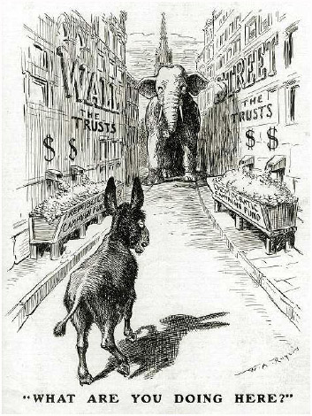 """A 1904 political cartoon depicting an elephant and a donkey (representative of Republicans and Democrats), each """"fed"""" with overflowing """"troughs"""" of money supplied by Wall Street."""