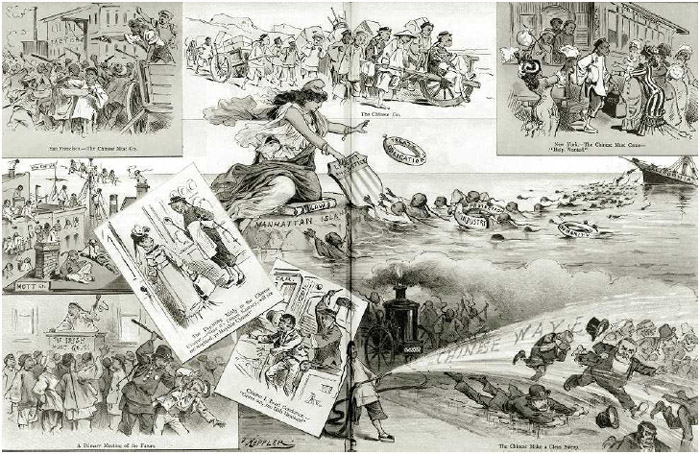 """""""The Chinese Invasion,"""" a composite of nine cartoons critical of Chinese immigration to the United States published in the late nineteenth century."""