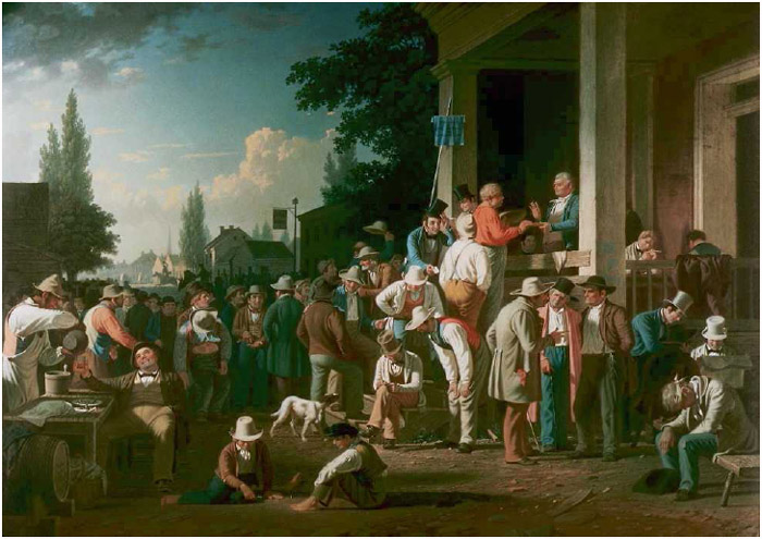 The County Election, painting by George Caleb Bingham, 1852, depicting a lively nineteenth-century Midwestern town on election day, when men of all backgrounds came together to make decisions for their community and nation.