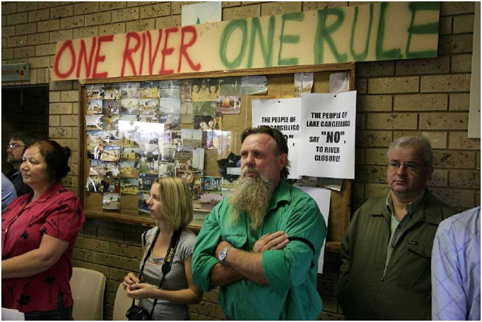 Local residents at a town hall meeting on water shortages.