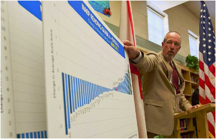 Dr. Tommy Bice, an Alabama State Department of Education official, visits an elementary school in Montgomery to discuss the National Assessment of Educational Progress (NAEP), November 1, 2011.