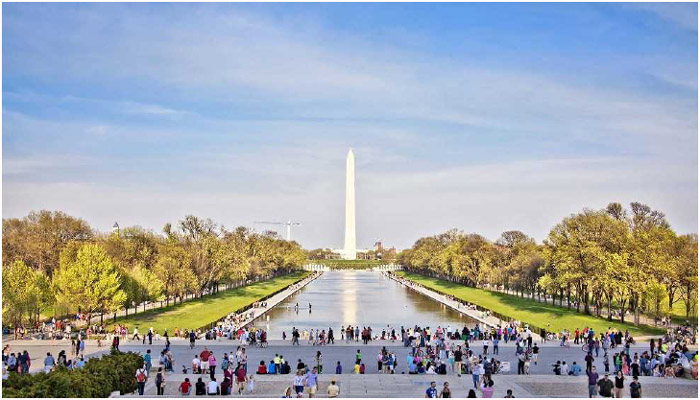 A view of the Washington Monument and the reflecting pool as seen from the Lincoln Memorial in Washington, DC.