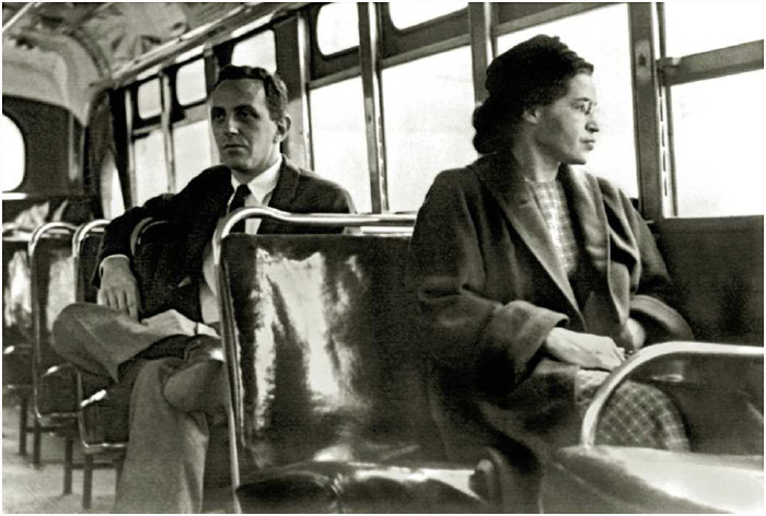Civil rights activist Rosa Parks sitting toward the front of the bus in Montgomery, Alabama, 1956.