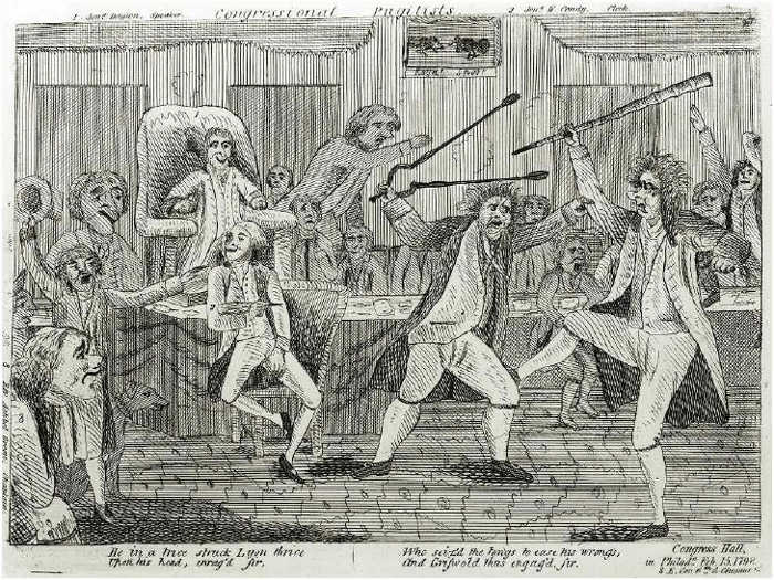 A 1798 cartoon depicting a brawl on the floor of the Congress Hall in Philadelphia that began with Representative Roger Griswold attacking Representative Matthew Lyon.