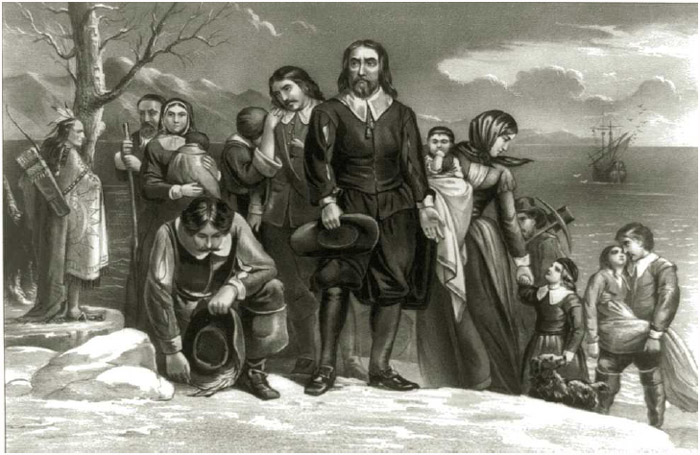 The landing of the Pilgrims at Plymouth, Massachusetts, December 22, 1620. Lithograph by Currier and Ives, 1876.