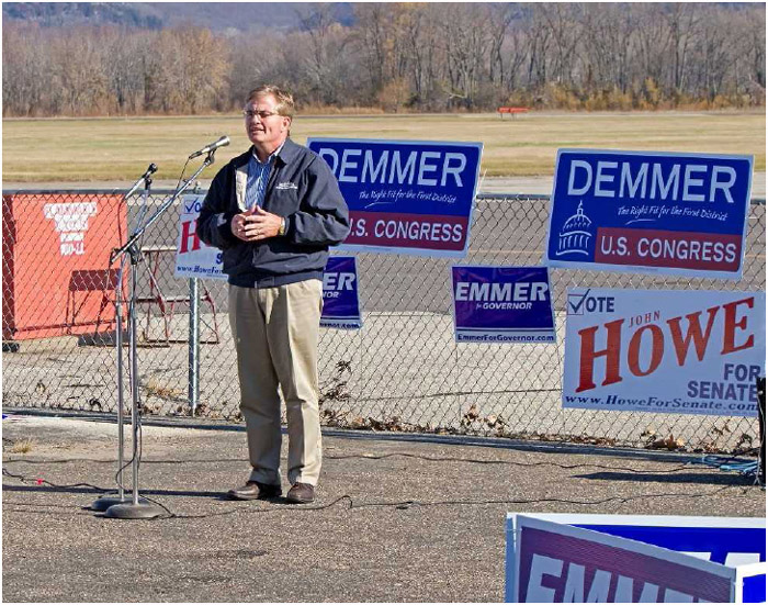 A Senatorial candidate on the 2010 campaign trail gives a speech at a Minnesota rally.