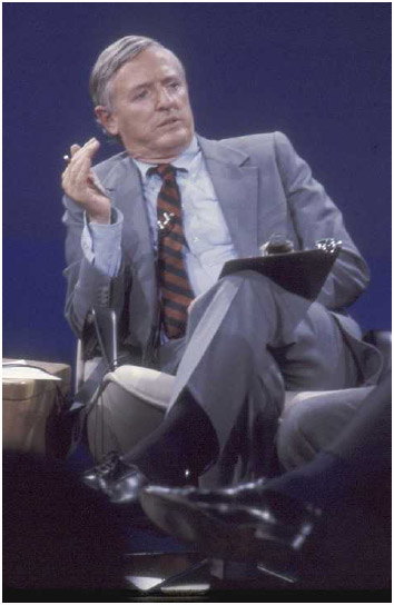 Conservative author and television host William F. Buckley Jr. on the set of the public affairs showFiring Line, which aired from 1966 to 1999.