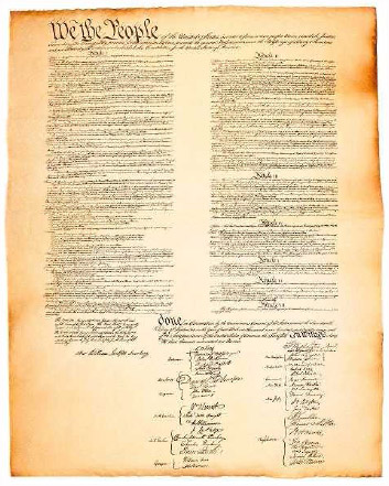 A photograph of the original United States Constitution of 1787.
