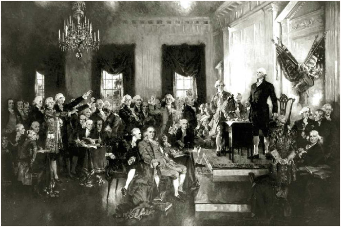 The signing of the United States Constitution by delegates to the Constitutional Convention in Philadelphia, September 17, 1787. Painting by H. C. Christy, 1940.