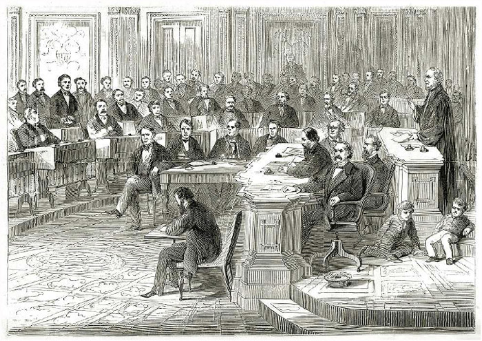 Impeachment proceedings against President Andrew Johnson in the US Congress, March 5, 1868. Engraving, 1872.