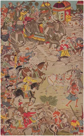 Akbar the Great in Procession. A miniature painting from a copy of the Mahabharata created for Akbar himself shows the Mughal emperor in procession around the turn of the seventeenth century CE.