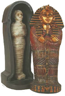 Mummy of the Egyptian pharaoh Tutankhamun (popularly known as King Tut) showing the outer decoration of the coffin and the wrapped body inside.