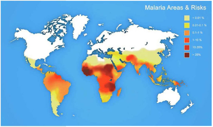 Map of the world showing areas of risk for malaria. The darker colors depict those areas of high risk for contracting malaria from infected mosquitos, primarily in tropical and subtropical regions.