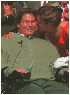 Actor and director Christopher Reeve was paralyzed in an equestrian competition in 1995. Reeve raised public awareness about spinal cord injury and the significance of medical research to help people with disabilities.