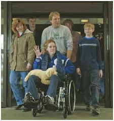 Jeanna Giese, 15, leaves Milwaukee's Childrens Hospital on January 1, 2005. Giese was treated for rabies with an experimental combination of drugs and is the first known person to survive the disease without receiving the rabies vaccine.