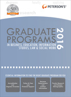 Peterson's® Graduate Programs in Business, Education, Information Studies, Law & Social Work 2016, ed. 50, v.