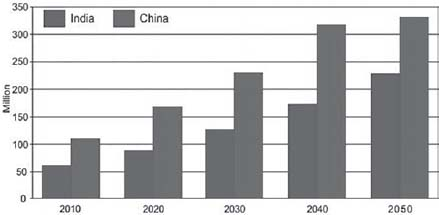 Figure 2.2. Growth of the Population Aged 65 and Older in India and China: 2010–2050