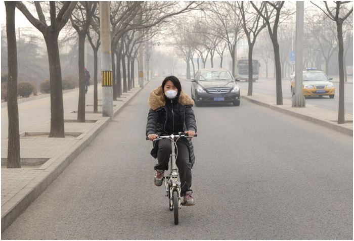 "Severe air pollution on February 25, 2014, in Beijing, China. Air quality index levels were classed as ""Beyond Index"" (PM2.5 of over 500 micrograms per cubic meter)."
