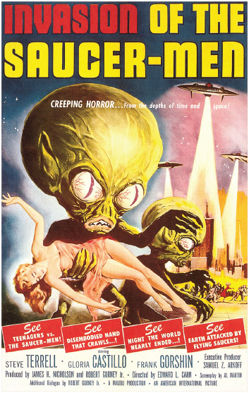 A promotional advertisement for the 1957 science-fiction film Invasion of the Saucer-Men. Promotion is an important component of the marketing mix, allowing producers to convey information about the product that may influence a