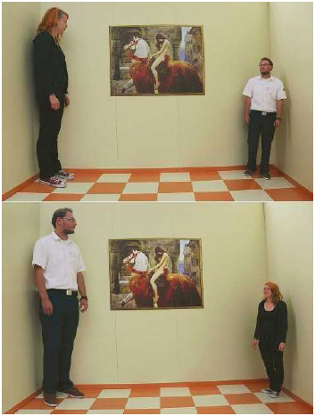 The combo of two pictures shows Katrin Klingenberg and Sascha Koehler, employees at the exhibition 'Wanderings about the Senses,' demonstrating an optical illusion experiment in a so-called Ames room on August 13, 2013, in Berlin.