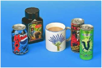 Many different products contain caffeine, including coffee, tea, colas, and energy drinks.
