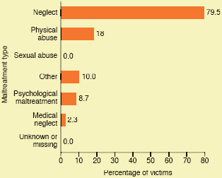 Child abuse victimization by maltreatment type, 2013