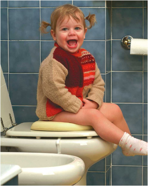 Child toilet training.