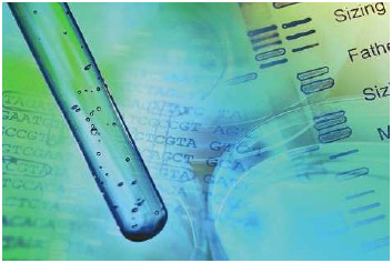 Test tube and DNA data.
