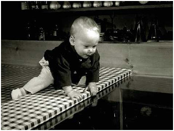 Visual cliff experiment, developed by Eleanor Jack Gibson, demonstrates that infants are sensitive to visual depth cues.