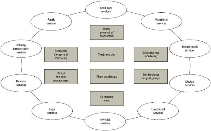 FIGURE 6.1 Components of comprehensive drug abuse treatment