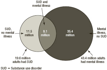 FIGURE 6.4 Substance use disorder among people aged 12 and older with mental illness, 2015