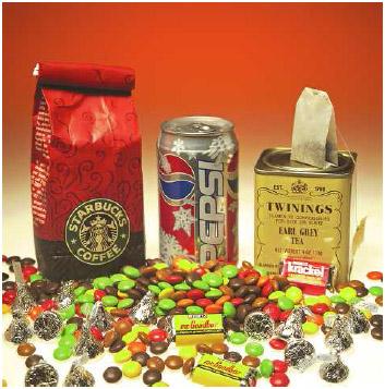 Caffeine containing foods.