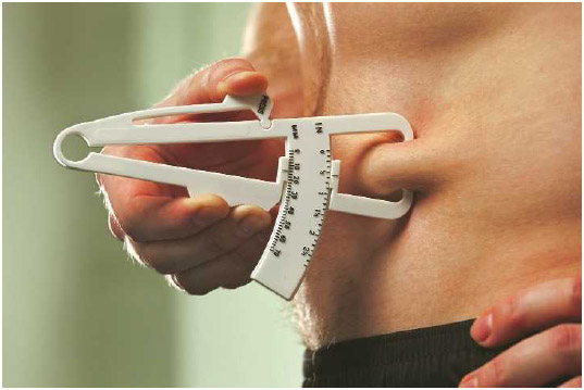 A man uses a caliper to measure body fat on his stomach. This method of measuring body fat determines skin-fold thickness and distinguishes between muscle and fat tissue.