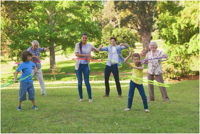 Hula hooping is an exercise that can be fun for the whole family. It provides a good cardiovascular workout that increases heart rate and burns calories.
