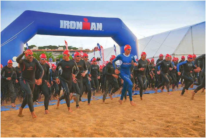 The start of an Ironman 70.3, or Half Ironman, men's race in Spain, May 2014.
