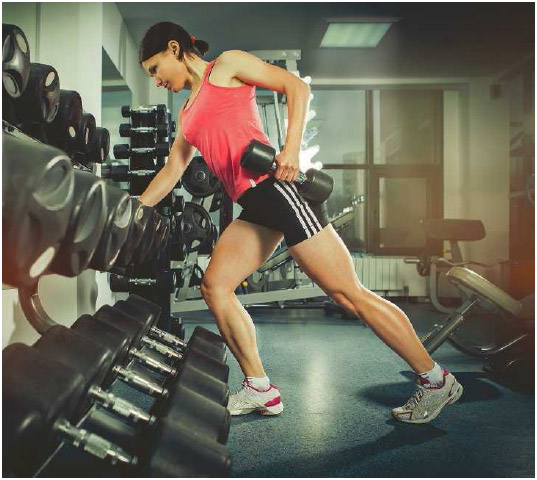 Strength training with weights, such as dumbbells, helps keep muscles lean and toned.