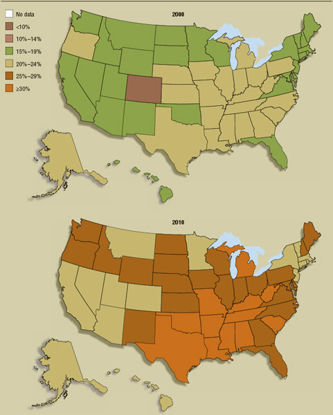 Two color-coded maps show the growing problem of obesity in the United States. Virtually every state in the nation saw an increase in the rate of obesity during the most recent full decade for which statistics are available.