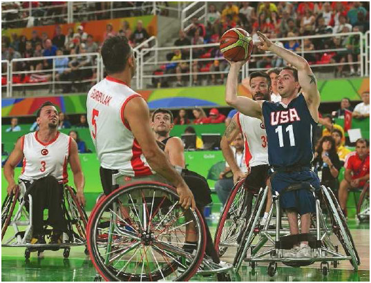 The United States and Turkey compete in wheelchair basketball at the 2016 Paralympics in Rio de Janeiro, Brazil, September 2016.