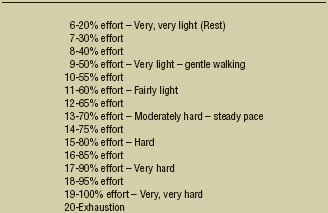 Rating of Perceived Exertion (RPE) Scale Figure 1. 6-to-20 Rating of Perceived Exertion (RPE) Scale. Adapted from Borg, Gunnar. (1998). Borg's Perceived Exertion and Pain Scales.