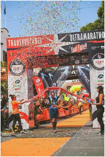 Nicolas Martin of France finishes second in the Transvulcania ultramarathon in La Palma, Canary Islands, May 2016. An ultramarathon is any foot race longer than a traditional marathon (or longer than 26.2 miles).