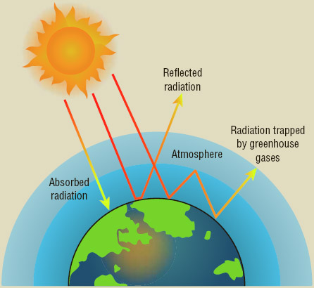 The Greenhouse Effect Greenhouse gases trap heat in Earth's atmosphere, which contributes to global warming.