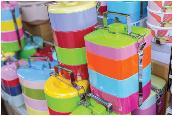 A tiffin box or food carrier made of colorful BPA plastic materials in Thailand.