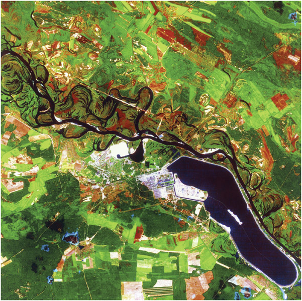 A satellite image of Chernobyl, Ukraine. Water is black and urban areas are white. Red and green rectangular fields surround the river and the lake that supplied water to cool the Chernobyl nuclear power plant (white, center).