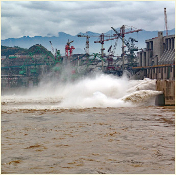 The powerful Three Gorges Dam in China, on the Yangtze River.